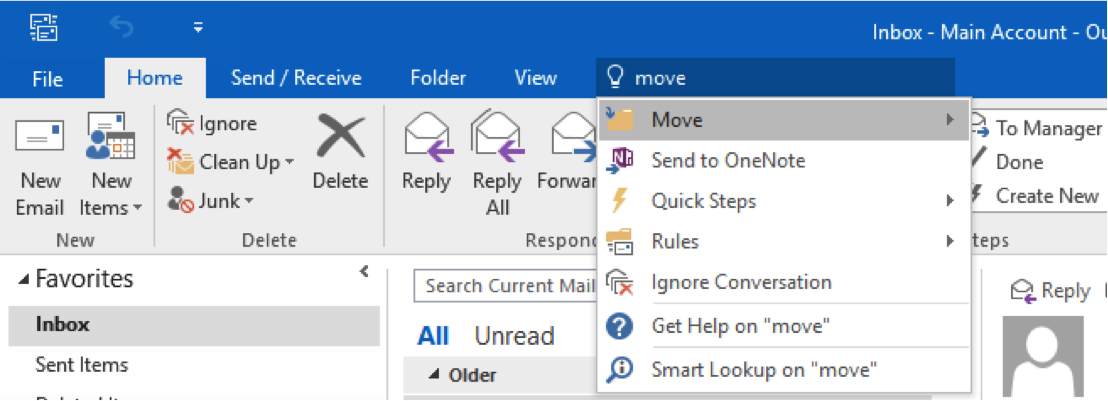 The Tell Me box in Outlook