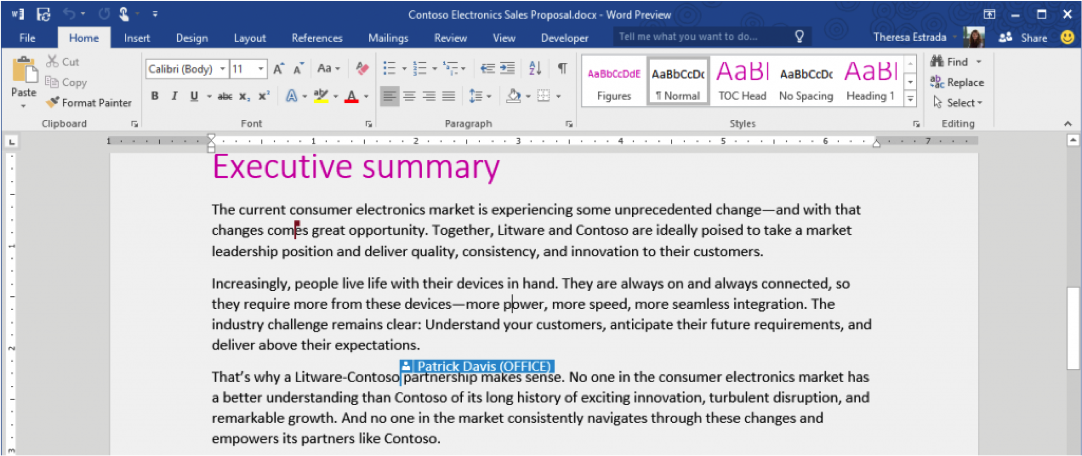 Co-authoring in Word