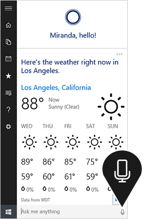 Image of Cortana in Windows 10